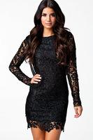 2014 Winter Long-sleeved Sexy Black Crochet Open Back Vintage Dress LC21138 femininas vestidos de renda casual free shipping