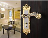 Titanium black gold black gold bearing between the door lock steel doors wood
