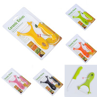 """Home Kitchen Dining Bar Ceramic Knife and Accessories Set Paring Fruit Utility Chef 3"""" inch with Peeler Acrylic Holder"""