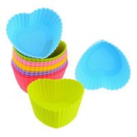 Free Shipping Mix Color Silicone Cake Mold Heart Shape Muffin Cupcake Bakeware Mould Cups 10pcs/lot HG040