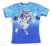 Hot sale New fashion 2014 Mens/Womens Short Sleeve Cat Cobain 3D Fun T-shirt Women Men Tops T-shirt S M L XL XXL