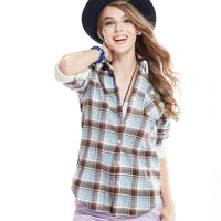 Plus size winter women's blouses add berber Fleece warm cotton 100% casual thicken blouses plaid shirt ,BL-662