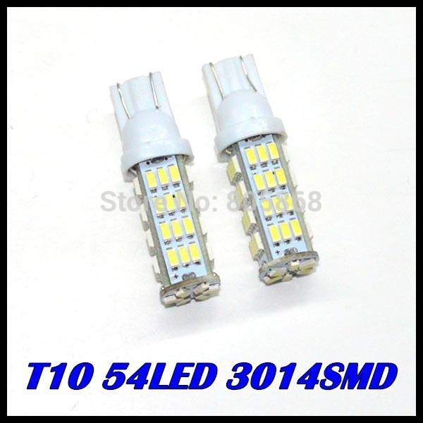10 X T10 3014 54led 3014smd Car Vehicle Wedge Light Bulb 12V White Car Interior LED Bulb Light Lamp Free Shipping(China (Mainland))