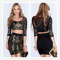 fashion 2014 women clothes Sexy 2PC Gold Black Vintage Damask Print Long Sleeve autumn Club dress Crop Top bodycon Dresses