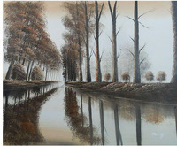 Original Signed Oil Painting Forest Tree River Art r180(China (Mainland))
