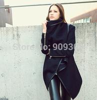 2015 Autumn winter women's overcoat long zipper o-neck full pockets solid coats Asymmtrial women's Jakets