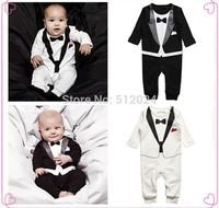 70-80-90-95 Fashion Newborn Baby Boys Cotton Long Sleeve Romper Gentleman Kids Climb Toddler Infant Gentleman Modelling Clothing