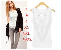 2015 Fashion Women Lace Blouse Female Casual Blusas Femininas Renda Plus Size Blusa Preto Branco Solid Color Brand New Blouses