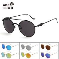 2015 New in Ade Wu's Ladies Round Sunglasses Retro Circle Mirror Sunglass gafas lentes de sol with Baroque Legs