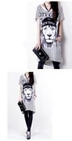2014 Summer Women Dress! Casual Style O-neck White & Black Animal Lion Parten Striped Slim Cotton Dress! Plus size!