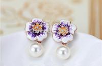 Brand Pearl Flower Dripping Earring 18K Gold Plate SWA Element Austrian Crystal Enamel Fashion Stud Earrings