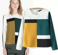 15 spring new arrival women's fashion personality color block colorant match long-sleeve chiffon shirt casual top 14120908