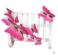 New 12Pcs/Lot Vinyl 3D Pink  Butterflies For Wall Art Decal Removable Home Decoration DIY Beautiful Wall Stciker Home Decor