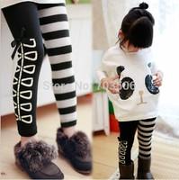 New 2015 Girl Clothing Set, Fashion Girls Panda T shirt+Striped Leggings 2pcs Set, Cotton Children Clothing Free Shipping
