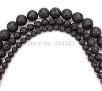 6 8 12mm Natural Black Volcanic Lava Stone Round Beads