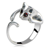 Solid cat ring opening retro male and female couple jewelry cheap jewelry today special gift 1030-20