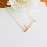 Valentine Day Gift Silver Paris bar necklace skyline bar france eiffel tower, souvenir gold long chain fashion jewelry