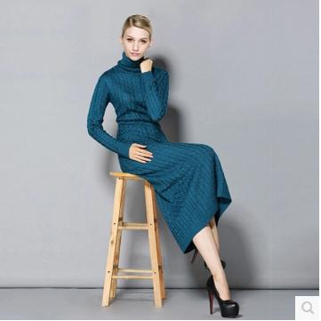 2015 Europe style long sleeve basic dress spring autumn turtleneck long wool women hemp flower knitted dress with pockets F0354(China (Mainland))
