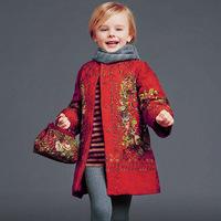 2014 news red coat kids clothes girls fur coat children coat girls winter coat