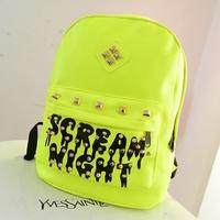 PU Leather Iridescent Women Rivet School Backpacks Fluorescence SCREAM NIGHT Women Laptop Backpack Bolsas Mochilas Femininas