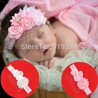 Baby flower headband Infant girls pearl lace hairband Toddler Rose Flower headbands 10pcs HB302