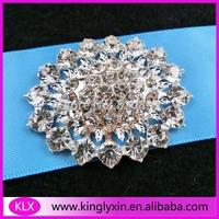 Free Shipping ! 8pcs/lot 51*42mm silver crystal rhinestone brooch  for wedding