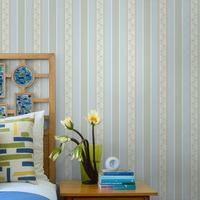 2015 Non-woven wallpaper modern Mediterranean striped retro wallpaper bedroom living room TV backdrop