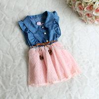 Summer Dot Yarn Girls denim dress