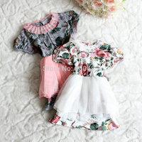 Summer  short sleeved  cotton big flower children dress