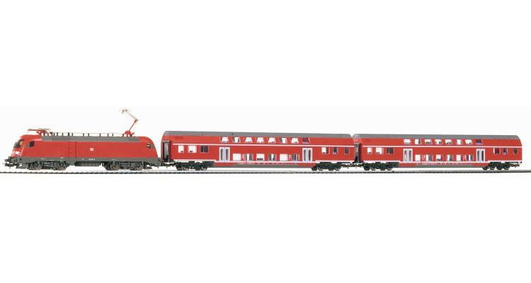 Germany PIKO model train locomotive + = TAURUS two double passenger tram car tracks + controller +/Cool(China (Mainland))