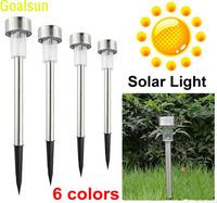 Solar lamps Power LED 6 Color choice Stainless Steel Spot Light Landscape Outdoor Garden Path Lawn Lamp LED Flood Spotlight Lawn