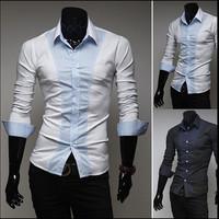 2014 New Brand Men's Casual Luxury Stylish Slim Fit Long Sleeve Shirts Mens Dot Cotton Dress Shirts Black/White