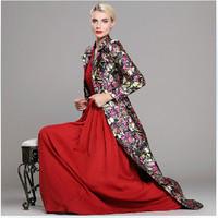 Luxury Brand Runway Maxi Dress Coat 2014 Winter Women's Elegant Vintage Butterfly Print X-Long Trench Coat Plus Size Overcoat