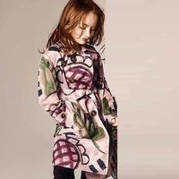 2014 news Girls Print Long trench coat kids clothes kids winter coat children coat baby clothing trench coat