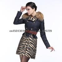Free shipping Europe and America hit color stitching genuine zebra fashion Slim long  raccoon fur down jacket coat winter  women