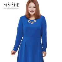 Msshe plus size clothing 2014 autumn and winter slim waist slim one-piece dress long-sleeve 7903