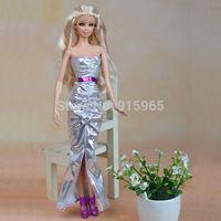 2015 New arrivlal 2 items=1 bag+1 dress evening dress for barbie doll