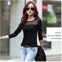 New Spring Autumn Chiffon Shirt Fashion Unlined Garment Lace Sexy Blouse Long Sleeve Casual Women Shirts Black White