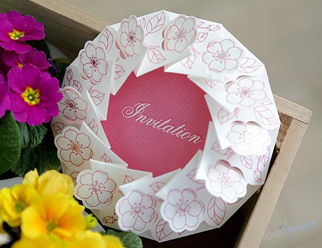 European pink flower wedding invitations cards wedding supplies Round wedding invitations cards sample(China (Mainland))