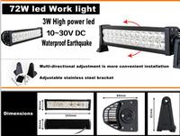 410*78*86mm Bridgelux 72w High power Led work light for car truck Head lamp DC12V 24V DHL/Fedex Free ship