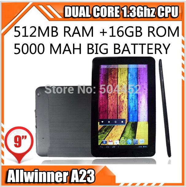9 inch Allwinner A23 Q88 Dual Core 1.5Ghz 5000mah Battery 16G Rom Bluetooth Wifi Dual Camera Tablet PC Google Play Skype(China (Mainland))