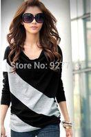 Princess 2014 unique color block decoration comfortable long-sleeve T-shirt