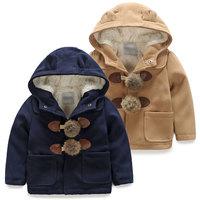 2014 winter boys clothing girls clothing child plus velvet thickening woolen overcoat outerwear wt-4402