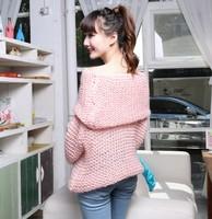 2014  0015   spring loose sweet slit neckline medium-long pullover sweater large lapel solid color
