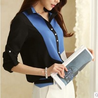 2014 Autumn Fashion New Women Blouse Long Sleeve Linen Hit Color Casual Chiffon Shirts For Young Lady Girls Plus Size JMY3