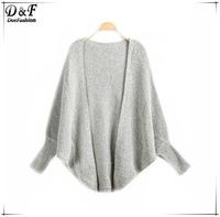 Knitted Sweaters Women Fashion 2015 Spring Knitwear Desigual Brand Casual Apricot Bating Long Sleeve Loose Knit Cardigan