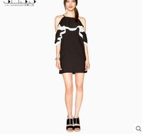 new black white stitching straps strapless A-line dress flouncing fifth sleeve dress