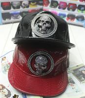 2014 New Brand Design Bright Leather Snapback Fashion Shinning Skull Baseball Cap Men & Women Hip Hop Hats