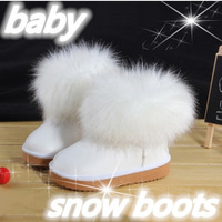 2015 winter shoes kids snow boots cotton-padded shoes waterproof fox fur  short boots girls