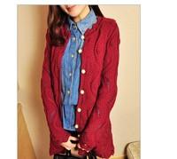 2014    0094  big pearl button cutout medium-long crotch wool cardigan sweater outerwear female